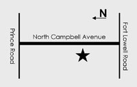 a simple map indicating NCHP's position on the west side of Campbell Ave. between Ft. Lowell Rd. and Prince Rd.
